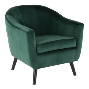 Rockwell Black Wood and Green Arm Accent Chair