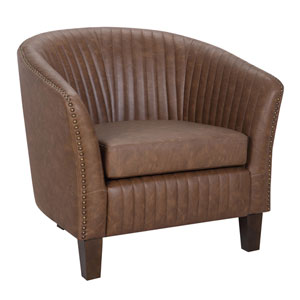 Shelton Walnut Wood and Brown Arm Accent Chair