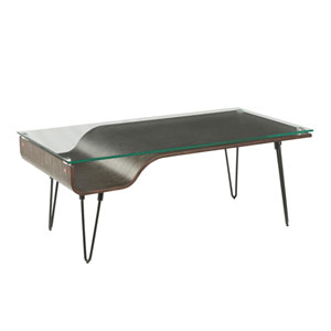 Avery Black, Dark Gray Wood and Clear Glass Coffee Table
