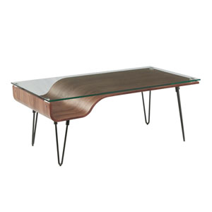 Avery Black, Walnut Wood and Clear Glass Coffee Table