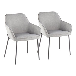 Daniella Black and Gray Arm Dining Chair, Set of 2