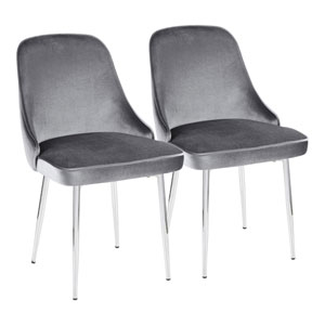 Marcel Chrome and Blue Dining Chair, Set of 2