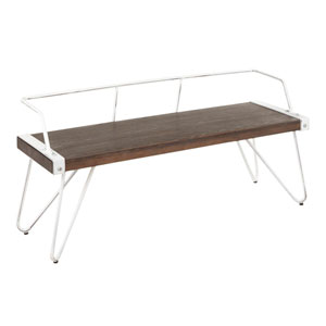 Stefani Vintage White and Espresso Bench