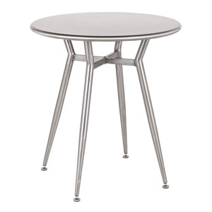 Clara Clear Brushed Silver 28-Inch Round Dining Table