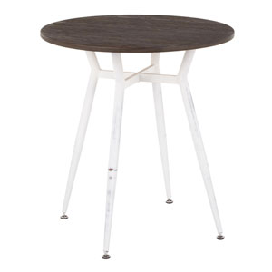 Clara Vintage White and Espresso 28-Inch Round Dining Table