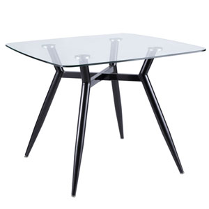 Clara Black and Clear Glass 38-Inch Square Dining Table