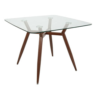 Clara Walnut and Clear Glass 38-Inch Square Dining Table