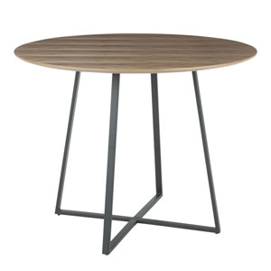 Cosmo Black and Walnut Wood 40-Inch Dining Table