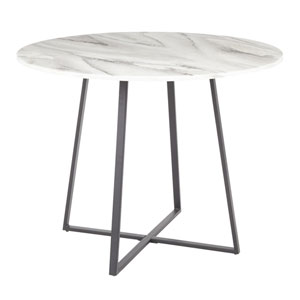Cosmo Black and White Marble 40-Inch Dining Table
