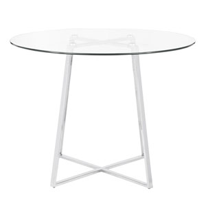 Cosmo Chrome and Clear Glass 40-Inch Dining Table
