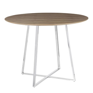 Cosmo Chrome and Walnut Wood 40-Inch Dining Table