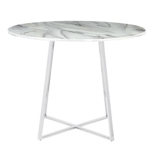 Cosmo Chrome and White Marble 40-Inch Dining Table