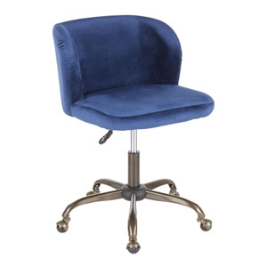 Luna Antique and Blue Adjustable Swivel office Chair