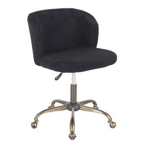 Luna Antique and Black Corduroy Adjustable Swivel office Chair