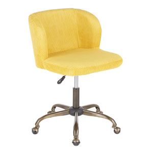 Luna Antique and Yellow Corduroy Adjustable Swivel office Chair