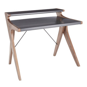 Archer Walnut Wood and Gray Wood Writing Desk
