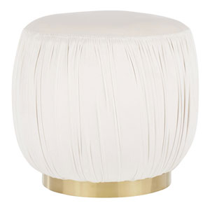Ruched Gold and Cream Ottoman