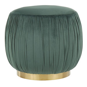 Ruched Gold and Emerald Green Ottoman