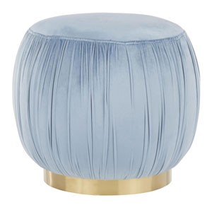 Ruched Gold and Powder Blue Ottoman