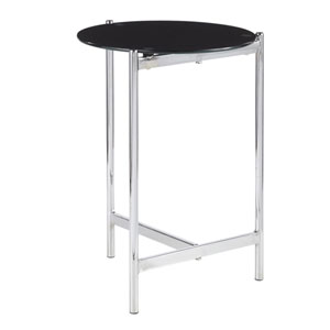 Chloe Chrome and Black Painted Glass Side Table