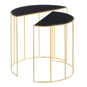 Canary Gold and Black Marble Nesting Table