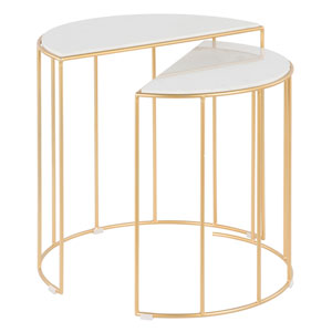 Canary Gold and White Marble Nesting Table