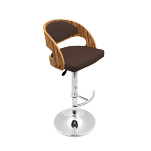 Pino Zebra Wood & Brown Bar Stool