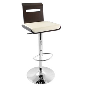 Viera Wenge Wood Bar Stool w/Cream Seat