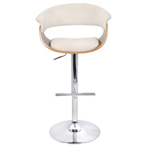Mod Walnut and Cream Vintage Barstool