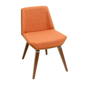 Corazza Chair- Walnut and Orange Fabric Seat