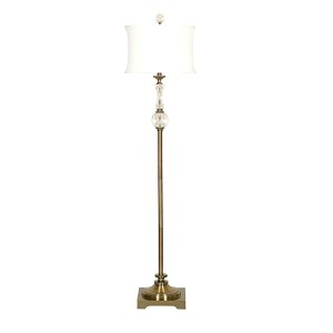 Antique Brass One-Light Crystal and Brass Floor Lamp