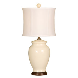 Splash Vanilla Ginger Jar One-Light Ceramic Table Lamp with White Silk Shade