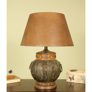 Aged Bronze Urn Table Lamp with Lizigator Shade