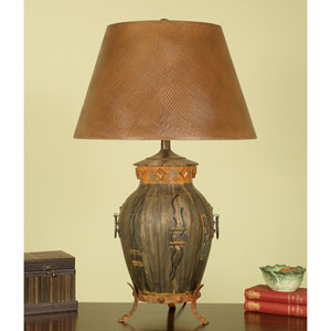 Aged Bronze Urn Footed Table Lamp with Brown Lizigator Shade