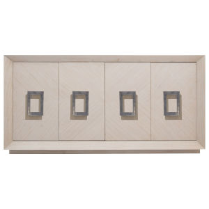 Off-White and Polished Nickel Harlan Large Cabinet