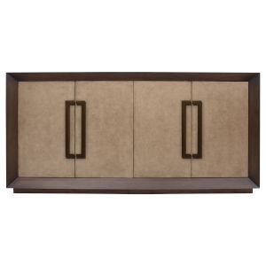 Light Brown and Metallic Undertones Pasadena Leather Cabinet