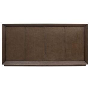 Dark Brown and Metallic Undertones Edwards Leather Cabinet