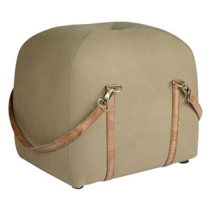 Olive and Natural Leather 16-Inch Ottoman Pouf