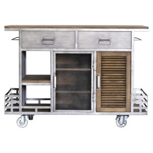 Jaxon Antique Steel 50-Inch Kitchen Island