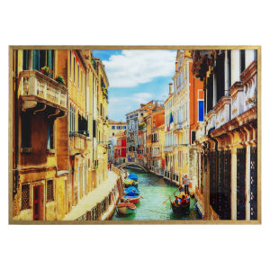 Multicolor Tempered Glass Horizontal Rio Marin Canal Wall Decor, 47 W x 1 D x 32 H