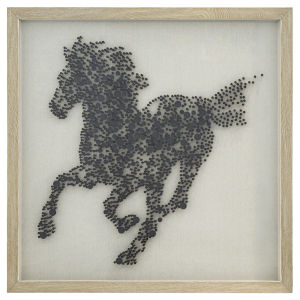 Black and Wood 47-Inch Steeds Silhouette Wall Art