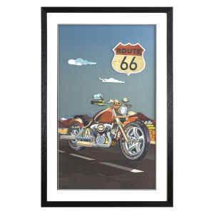 Multicolor 3D Art Collages Vertical Motorcycle on Route 66 Decorative Art, 24 W x 2 D x 36 H