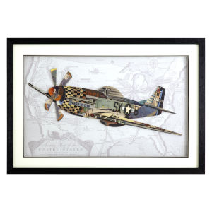 Multicolor 3D Art Collages Horizontal British Spitfire Decorative Art, 36 W x 2 D x 24 H