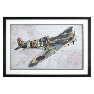 Multicolor 3D Art Collages Horizontal P-51 Mustang Decorative Art, 36 W x 2 D x 24 H
