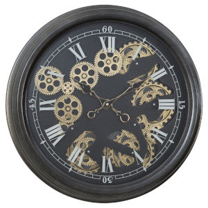 Black and Gold 21-Inch Paris II Gear Clock