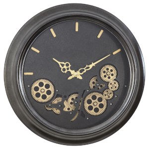 Black and Gold 19-Inch Round Gear Clock