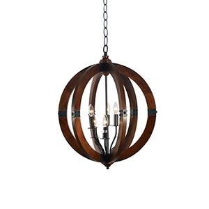 Venturia Mahogany and Black Six-Light Chandelier