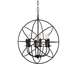 Vari Black Six-Light Chandelier