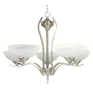 Glacier Point Satin Nickel Five-Light Chandelier