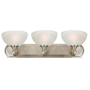 Glacier Point Satin Nickel Three-Light Vanity Light